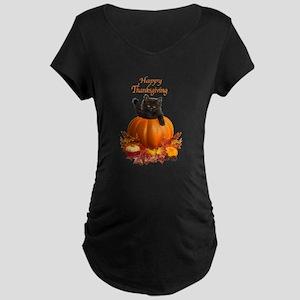 Thanksgiving Pumpkin Kitty Maternity T-Shirt