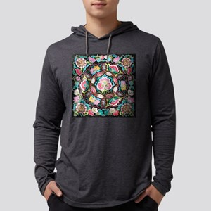 turquoise pink flowers bohemia Long Sleeve T-Shirt