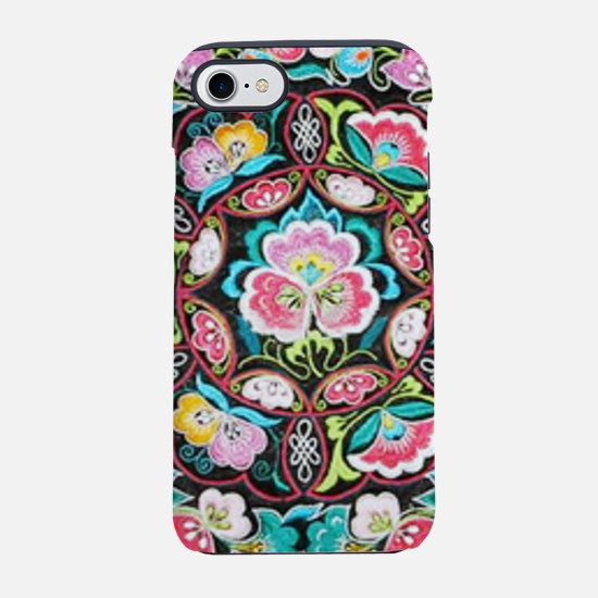 turquoise pink flowers bohem iPhone 8/7 Tough Case