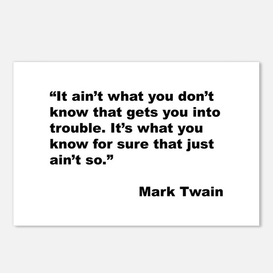 Mark Twain Quote on Trouble Postcards (Package of