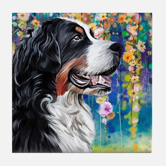 Bernese Mountain Dog Painting Tile Coaster