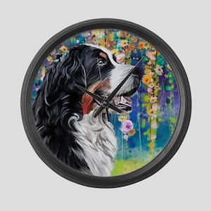 Bernese Mountain Dog Painting Large Wall Clock