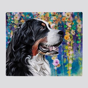 Bernese Mountain Dog Painting Throw Blanket