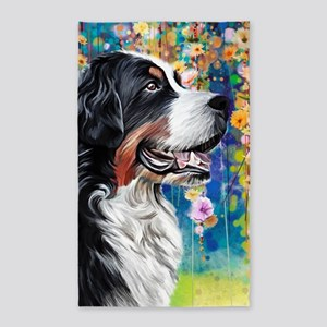 Bernese Mountain Dog Painting Area Rug