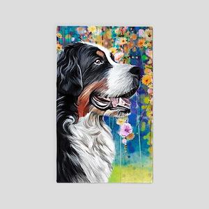 Bernese Mountain Dog Painting Area Rug