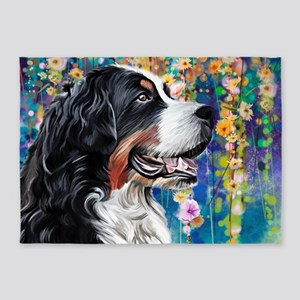 Bernese Mountain Dog Painting 5'x7'Area Rug