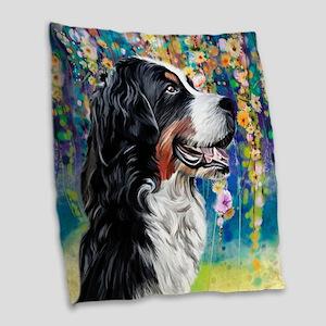 Bernese Mountain Dog Painting Burlap Throw Pillow