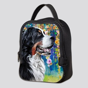 Bernese Mountain Dog Painting Neoprene Lunch Bag