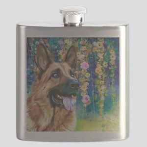 German Shepherd Painting Flask