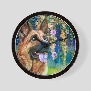 German Shepherd Painting Wall Clock