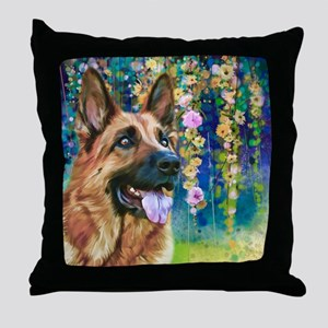 German Shepherd Painting Throw Pillow