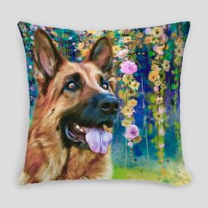 German Shepherd Painting Everyday Pillow
