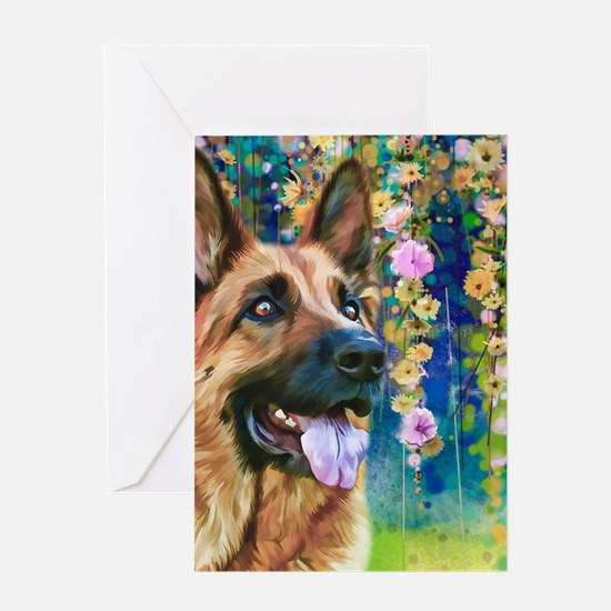 German Shepherd Painting Greeting Cards