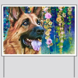 German Shepherd Painting Yard Sign