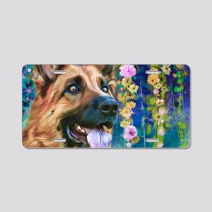 German Shepherd Painting Aluminum License Plate