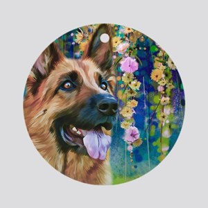 German Shepherd Painting Round Ornament