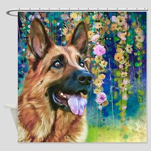 German Shepherd Painting Shower Curtain