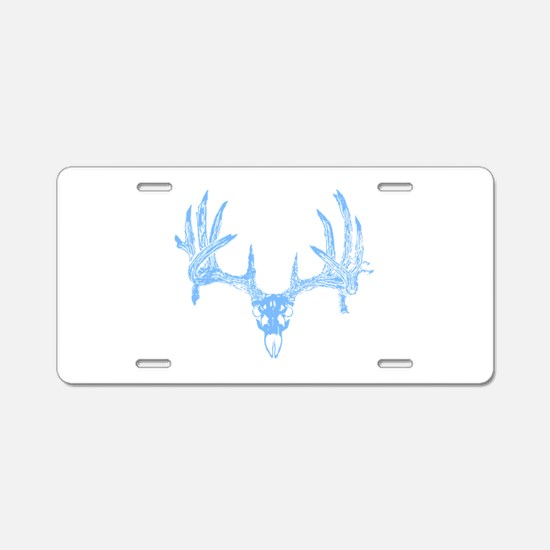Deer skull blue Aluminum License Plate