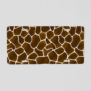 Giraffe Spots Faux Fur Pattern Aluminum License Pl