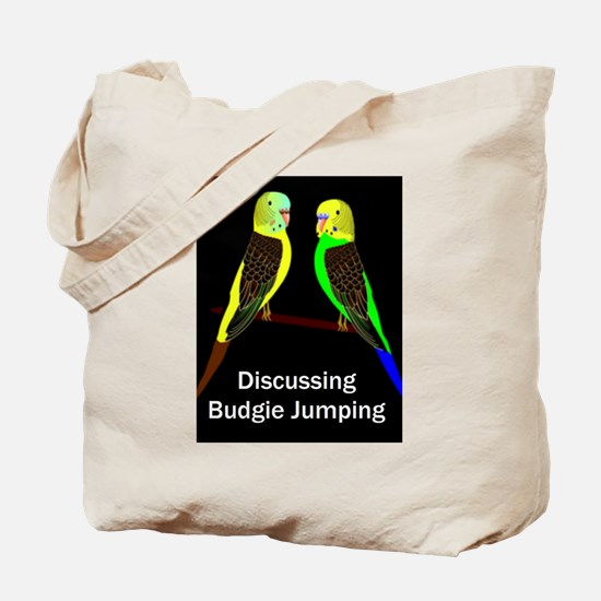 Budgies discussing Budgie Jumping Tote Bag