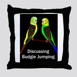 Budgies discussing Budgie Jumping Throw Pillow