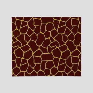 Giraffe Skin in Garnet and Gold Throw Blanket