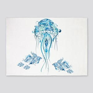 Jellyfish and Betta Fish 5'x7'Area Rug