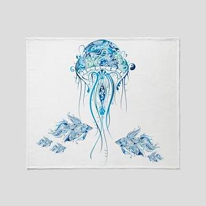 Jellyfish and Betta Fish Throw Blanket