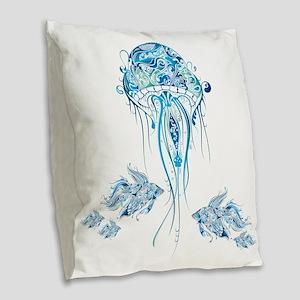 Jellyfish and Betta Fish Burlap Throw Pillow