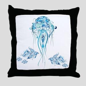 Jellyfish and Betta Fish Throw Pillow