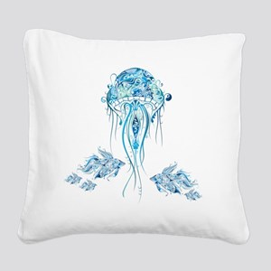 Jellyfish and Betta Fish Square Canvas Pillow
