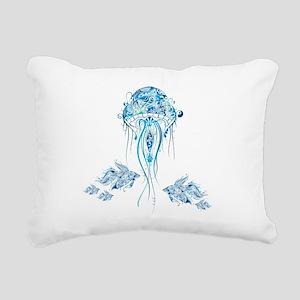 Jellyfish and Betta Fish Rectangular Canvas Pillow