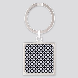 CIR3 BK-WH MARBLE Square Keychain