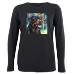 Rottweiler Painting Plus Size Long Sleeve Tee