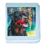 Rottweiler Painting baby blanket