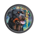 Rottweiler Painting Wall Clock