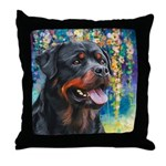 Rottweiler Painting Throw Pillow
