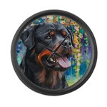 Rottweiler Painting Large Wall Clock