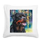 Rottweiler Painting Square Canvas Pillow