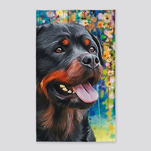 Rottweiler Painting Area Rug
