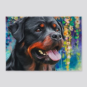 Rottweiler Painting 5'x7'Area Rug