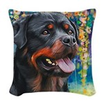 Rottweiler Painting Woven Throw Pillow