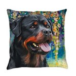 Rottweiler Painting Everyday Pillow
