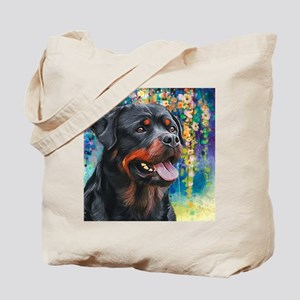 Rottweiler Painting Tote Bag