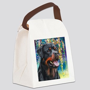 Rottweiler Painting Canvas Lunch Bag