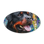 Rottweiler Painting Oval Car Magnet