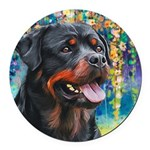 Rottweiler Painting Round Car Magnet