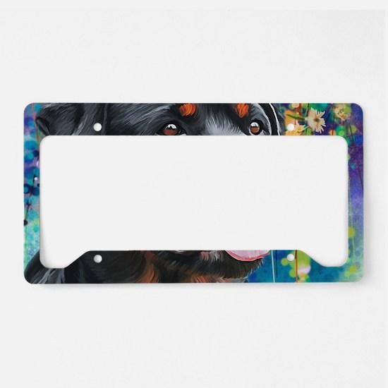 Rottweiler Painting License Plate Holder