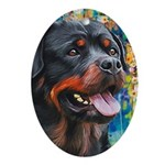 Rottweiler Painting Oval Ornament