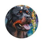Rottweiler Painting Round Ornament